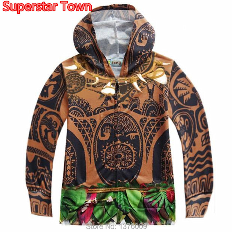Moana Maui Boys Coat Kids Boy Halloween Cosplay Hooded Jacket Casual Tattoo Coat Children