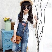 2016 Korean Style Girls Cotton Jumpsuit Kids Fashion Bib Back Suspenders Jeans Strap Pants Children Overalls Clothes