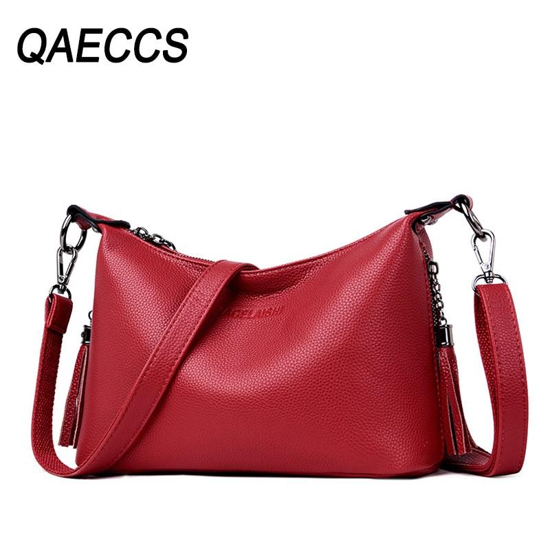 2019 Women Leather Messenger Bags Small Crossbody Bags For Women Vintage Handbags Luxury Designer Sac A Main Hobos Ladies Bag