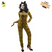 Adult S Jumpsuit Catsuit Costume Role Leopard Print Backless Halloween Bodysuit