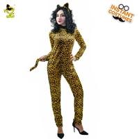 Adult S Jumpsuit Catsuit Costume Role Leopard Print Backless Halloween Bodysuit