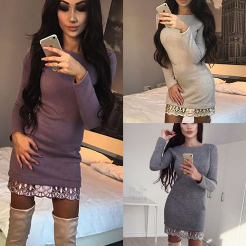 Women s Lace Up Jumper Mini Dress Ribbed Knitted Bodycon Party Clubwear  Sweater Pencil Dress eaa44c1df
