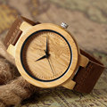 Christmas Gift Elk Pattern Wrist Watch Men Bamboo Nature Wood Case Watches Male Genuine Leather Strap Deer Design Moose Present