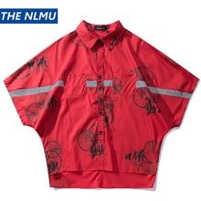 Streetwear 3M Reflective Shirt Men Hip Hop Shirts Fashion Print Harajuku Shirt Summer Casual Tops Short Sleeve Men HW209