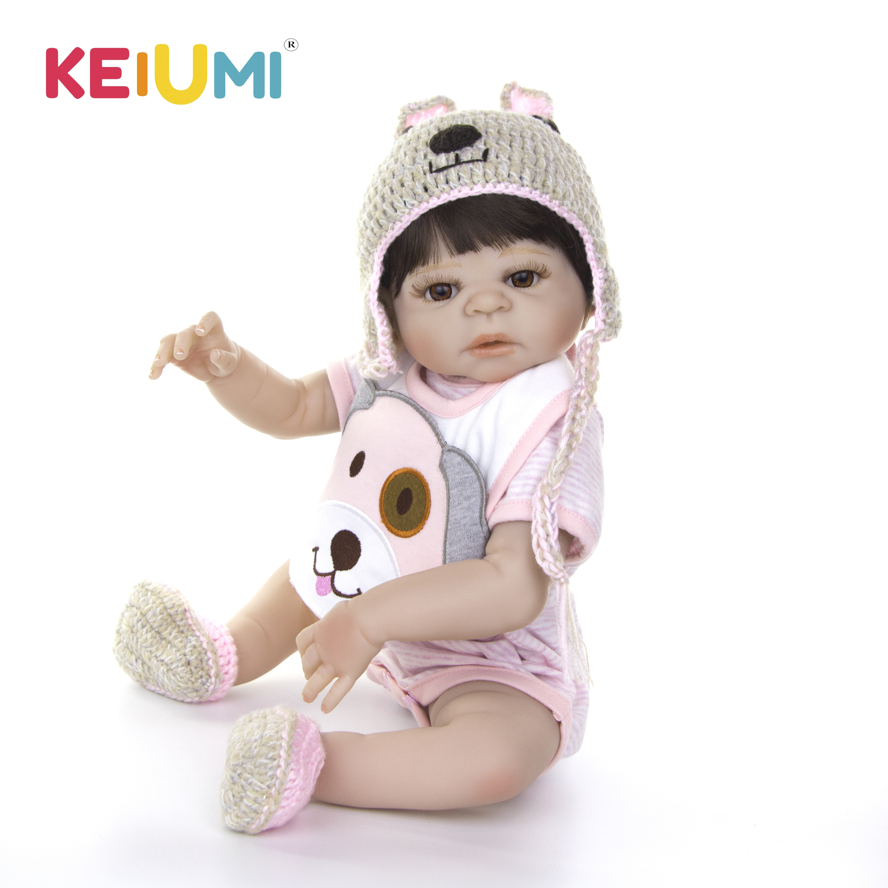 New Arrval Lovely Realistic Reborn Baby Doll Full Body Silicone With Cartoon Dog Baby Doll For