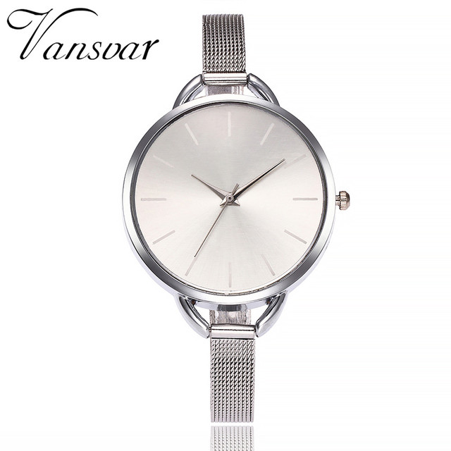 Vansvar Brand Fashion Colorful Dial Silver Mesh Stainless Steel Quartz Watches W