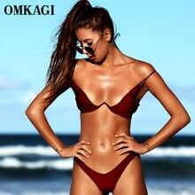 OMKAGI Brand Brazilian Bikini 2020 Swimsuit Sexy Push Up Swimming Bathing Suit Beachwear Underwire Bikinis Set