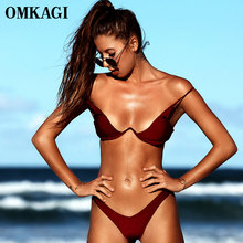 OMKAGI-Bikini brasileño de marca, traje de baño Sexy de realce, ropa de playa, conjunto de Bikinis Con aros, ropa de baño para mujer 2020