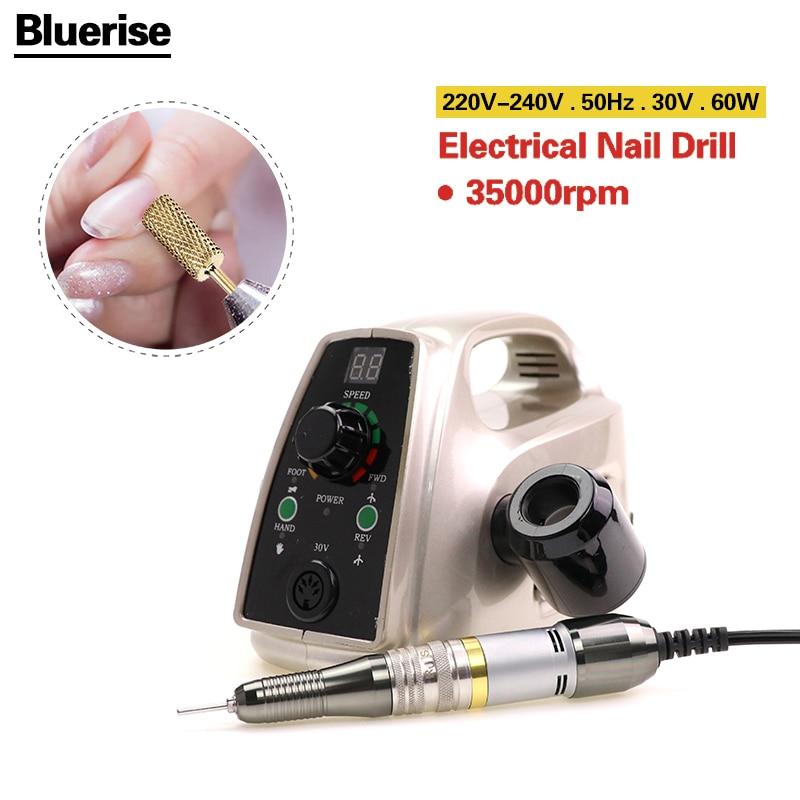 BLUERISE professional nail drill 60w EU plug Marathon handle electric nail art drill pedicure tool feet