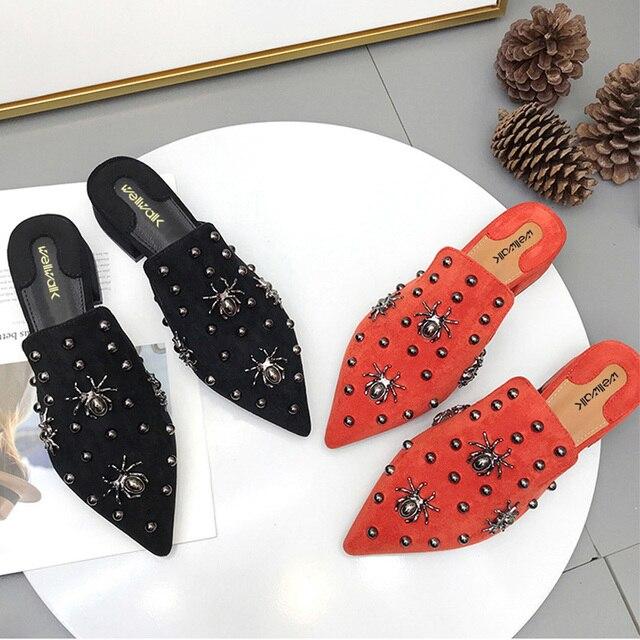 Wellwalk Women Mules Shoes Ladies House Slippers Women Brand Shoes Ladies Mules Slides Women Block Heel Female Shoes
