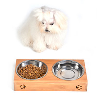 Pet Dog Double Bowls Raised Stand Bamboo Stainless Steel For Pet Feeding Water Food Drop Shipping