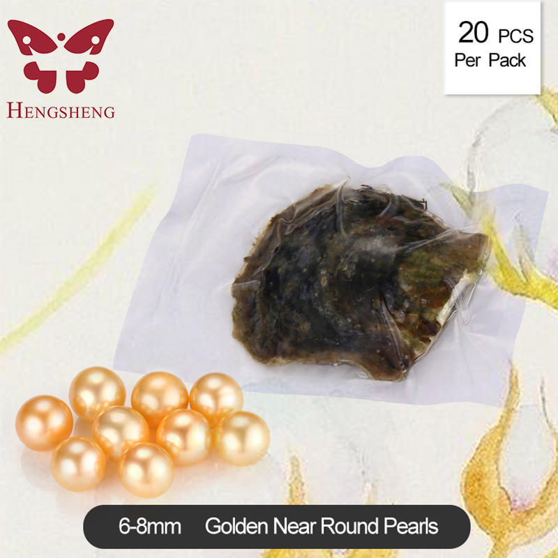 Wholesale 20pcs round akoya golden pearl in oyster vacuum-packed 6-8mm, popular oysters gifts 100 pcs interesting gift 6 8mm round akoya pearl in oyster with vacuum packed aaa grade natural saltwater pearls oysters