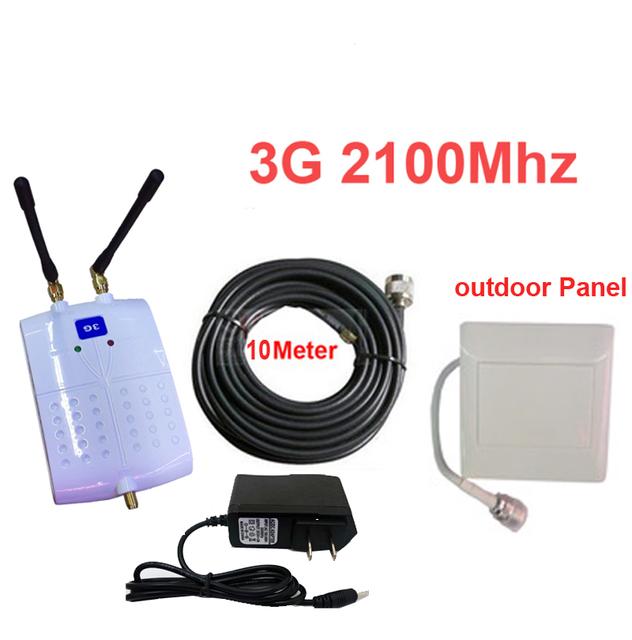 Con panel de antena + 10 M cable de refuerzo 55dbi 3g WCDMA 3G repetidor de señal ampliadora señal del teléfono móvil ampliadora 2100 mhz booster