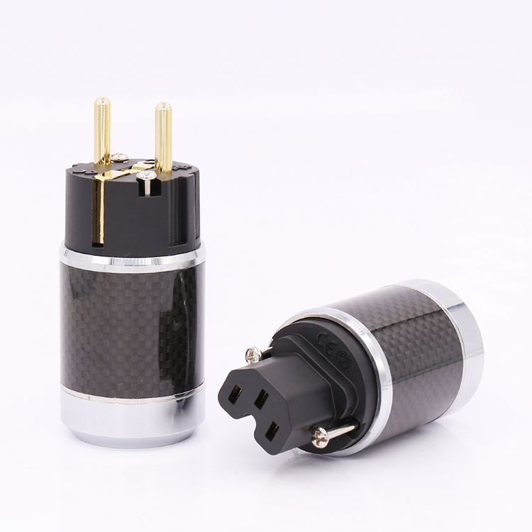High Quality Carbon Fiber Gold Plated EU Schuko Power Plug Connector HIFI European Power Connector