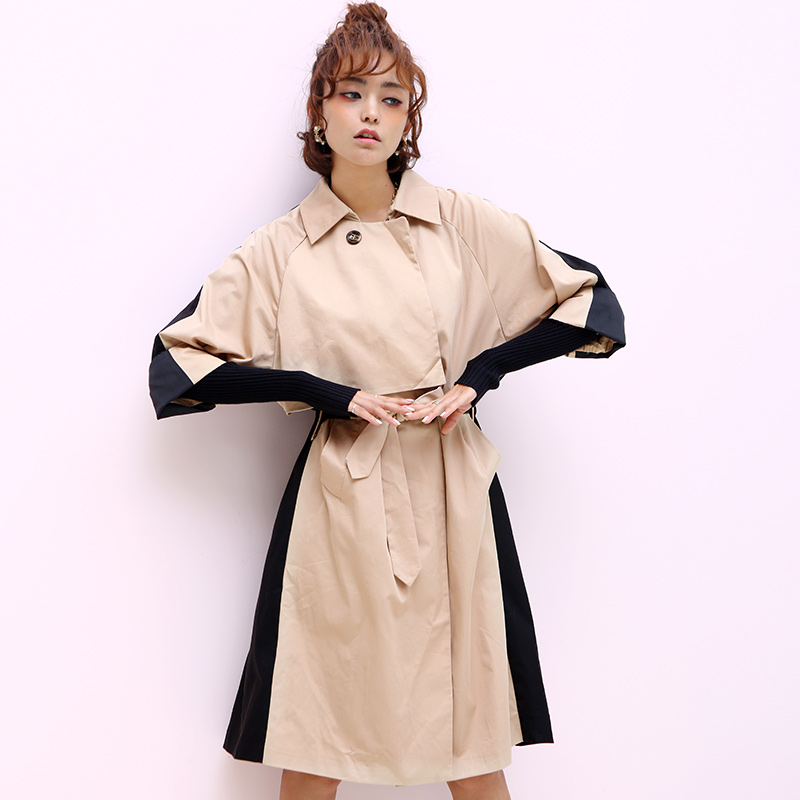 Ciao Women Novelty Personality Spring Double Breasted Cotton Khaki Black Patchwork Wrist-Sleeve Silm Waist LongTrench Outerwear