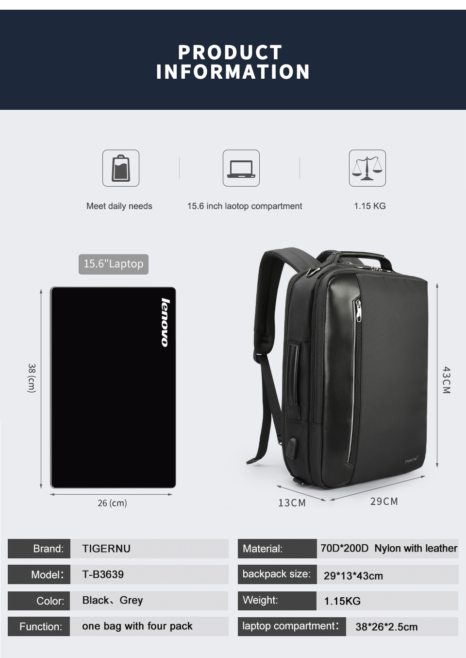 5.laptop backpack for men
