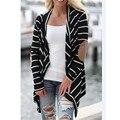 Прочный зимняя куртка 2016 Женская мода Нерегулярные Полосы Шаль Кимоно Кардиган Топы Прикрыть