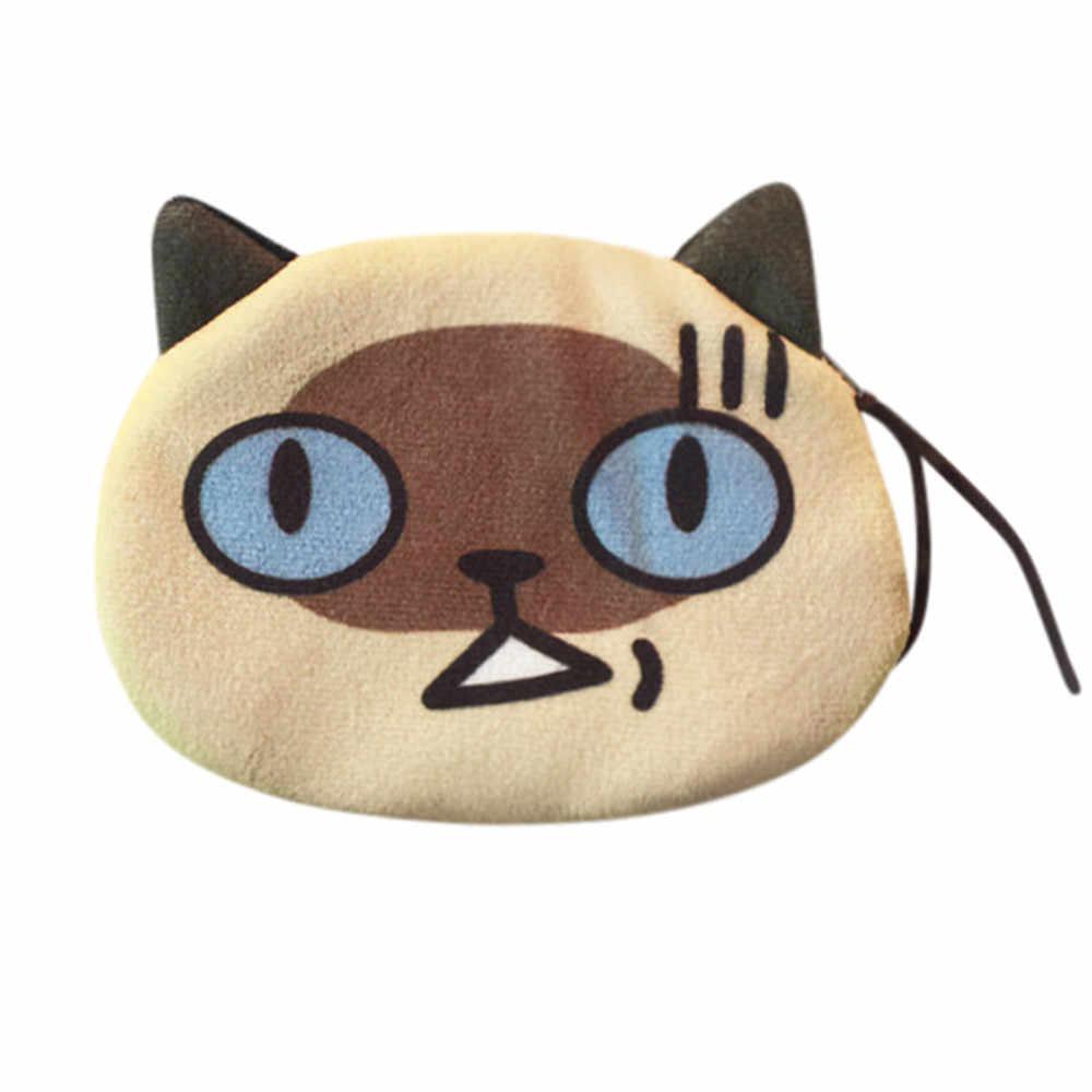 Новый Модный женский милый Принт кошка лицо Девушка плюшевый Кошелек для монет кошелек сумка walletклатч сумка для наушников пакет