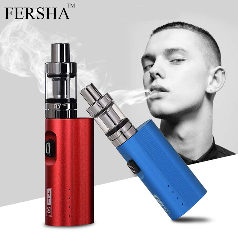 FERSHA Electronic Cigarette 50W Adjustable vape mod box kit 2200mah 0.5ohm battery 2ml tank e-cigarette Big smoke atomizer vaper 30w safety electronic cigarette mini mechanical pole smoke suit steam smoke portable authentic electronic cigarette