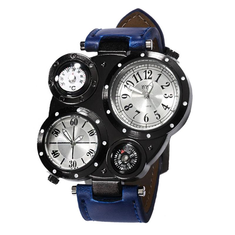 Prix pour Personnalité Hommes De Mode Double Mouvement Boussole Montre Grand Cadran Bracelet En Cuir Étanche Sport Quartz Montre-Bracelet (WJ-5281)