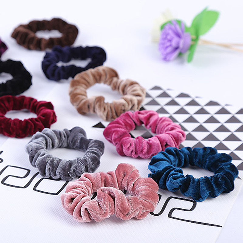 2019 Fashion Elastic Ponytail Holder Hairband Hair Bands Solid Velvet Women Hair Ropes Ties Girls Accessories Female   Headwear