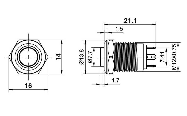 12 Mm Tinggi Bulat Tahan Air Sesaat Stainless Steel Logam Tombol Tekan Saklar Daya Lampu LED Bersinar Klakson Mobil 3 V 5 V 12 V 24 V