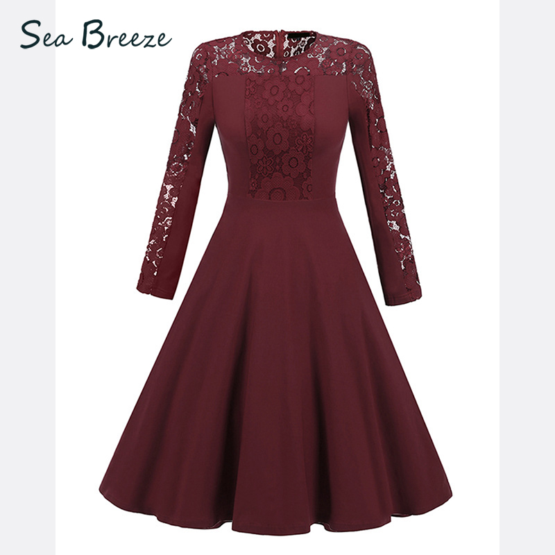 Sea Breeze Star Style Vintage O Neck Patchwork Female Full