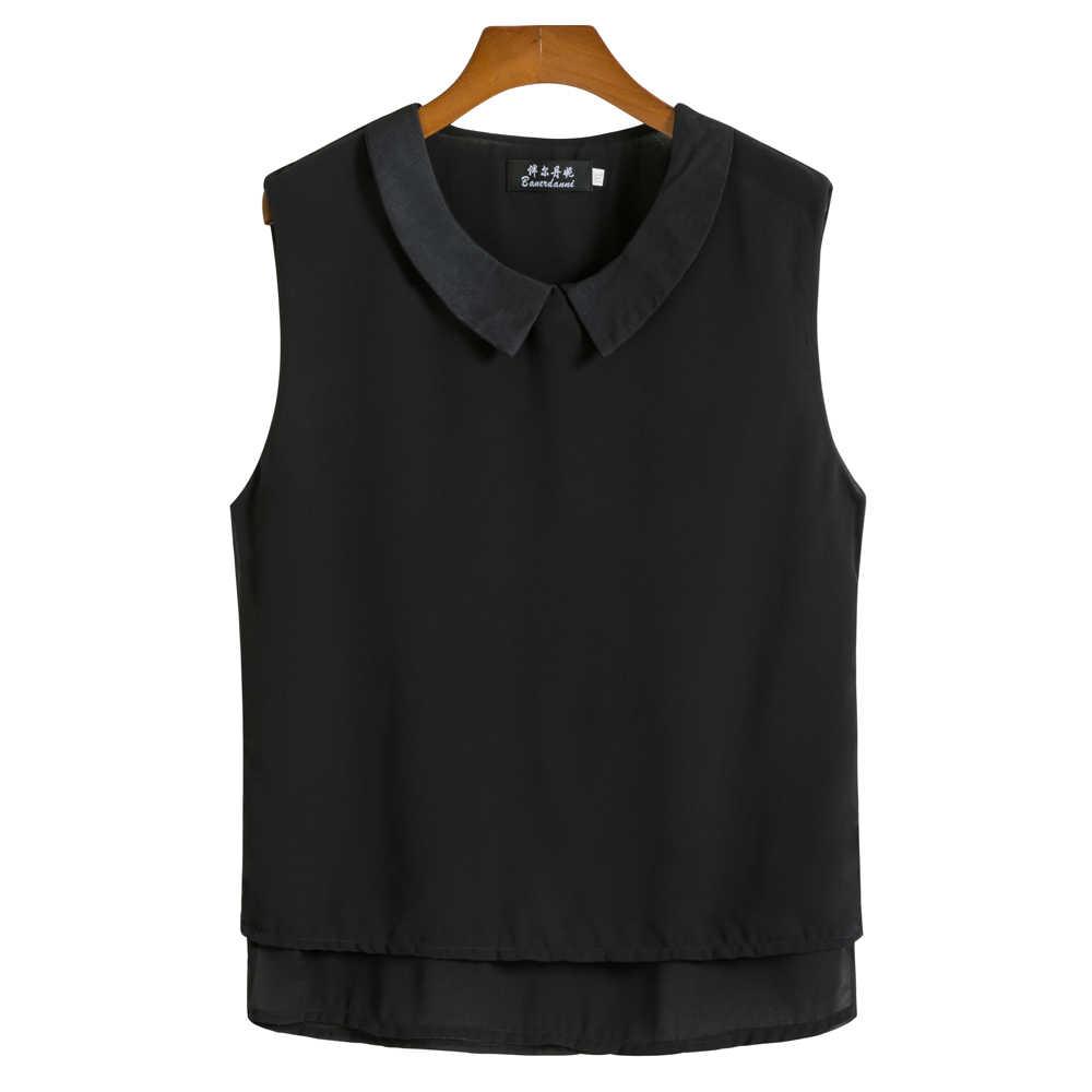 2019 Mode Merk Vrouwen Blouse Zomer Mouwloze Chiffon Overhemd Peter Pan Kraag Casual Blouse Plus Size 5XL Losse Vrouwelijke top