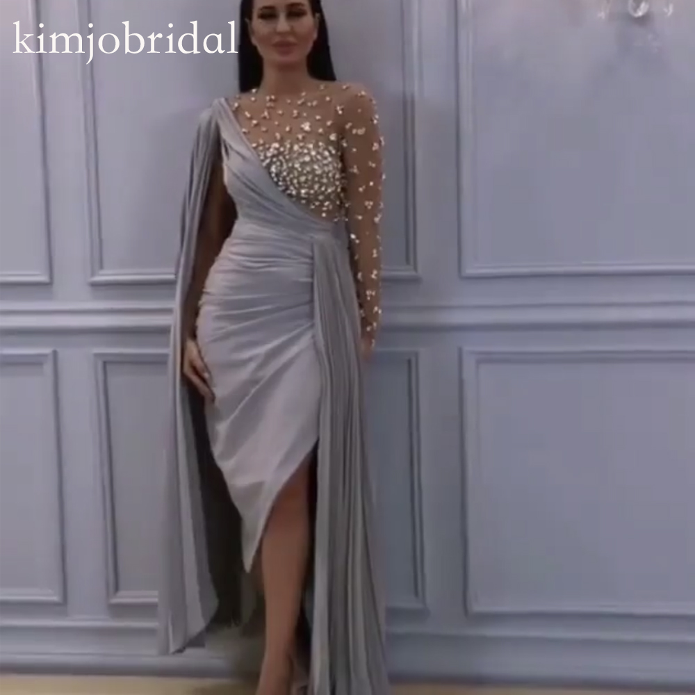 Sliver Prom Dresses 2019 Pearls Beaded Long Sleeve Pleats Chiffon Sheath Evening Dresses Vestidos De Fiesta Arabic