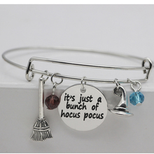 ФОТО exquisite crystal bangle silver plated  it's just a bunch of hocus pocus charm pulsera jewelry for men and women yp3170