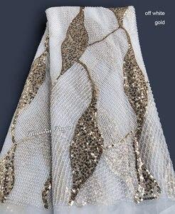 Image 3 - Khủng cổ điển Handwork pháp ren Amazing cưới vải tuyn với tất cả các vòng tay nhỏ hạt pha lê đôi kim sa lấp lánh 5 thước