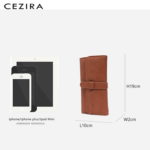 CEZIRA Long Wallet Buckle Ladies Wallets Female Clutch Credit Card Holders Cellphone Multi Pockets Purse Faux Leather Wallets 5