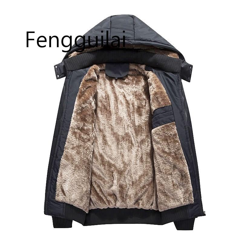 Зимняя мужская куртка Parka Теплый флис Повседневная куртка с капюшоном Мужская хлопок Тонкий толсты