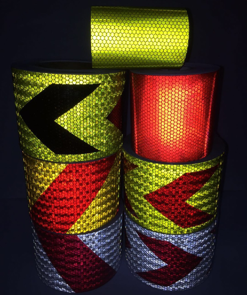 10CM*1M PVC Self-adhesive Reflective Safety Tape Road Traffic Construction Site Reflective Warning Arrow Sign Sticker