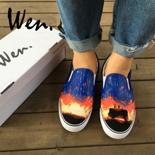 Wen Hand Painted Shoes Design Travelling Couple Watching Bea