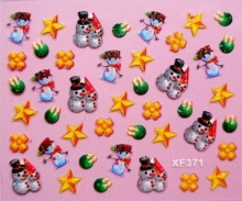 10pack/lot Merry Christmas Gift Snowman Stars Nail Sticker Stickers For Nail DIY Decals Manicure Nail Art Decoration XF371