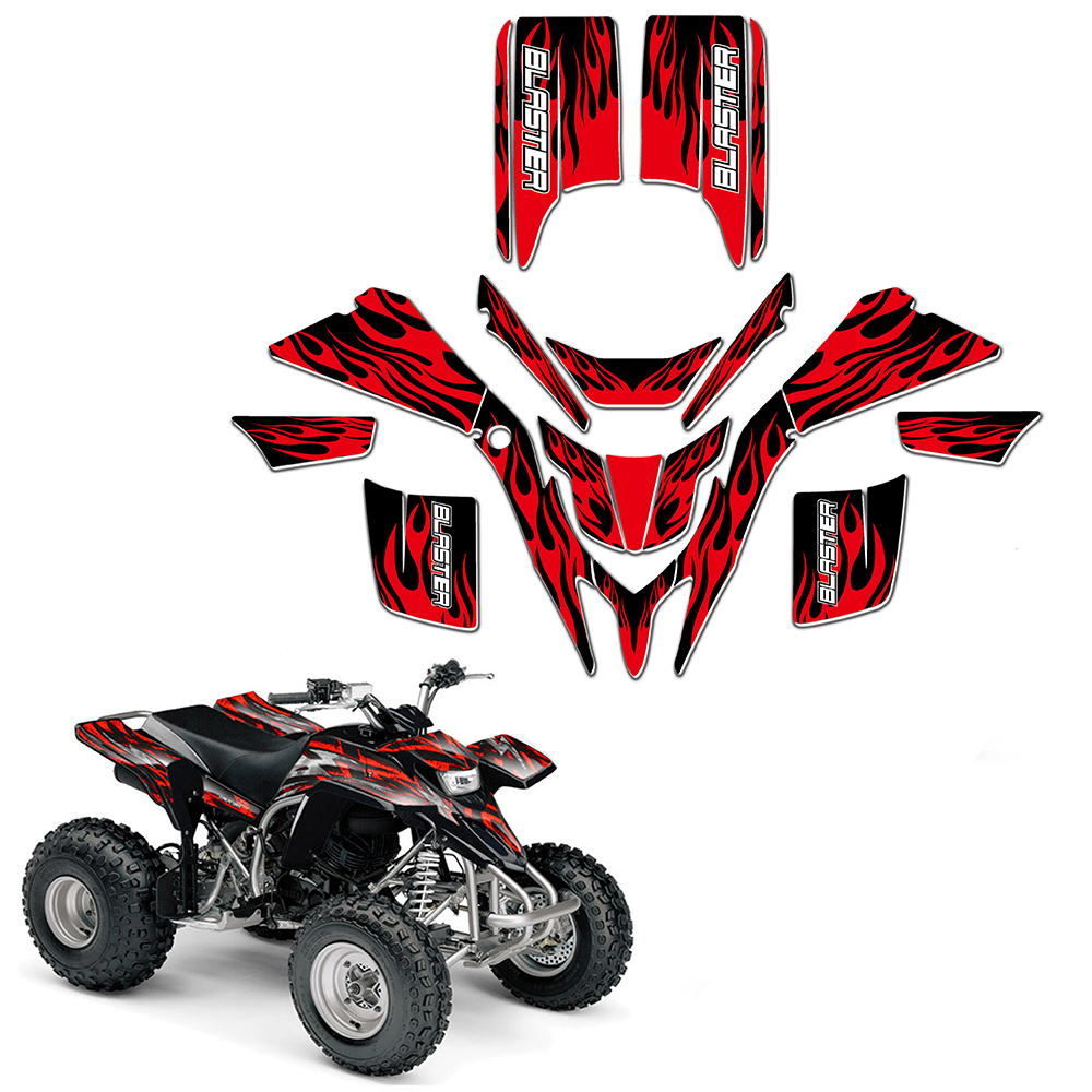 New Style DECALS STICKERS GRAPHICS For Yamaha BLASTER 200 YFS 200 1988 -2006 RED BLACK ATV Full Race KIT