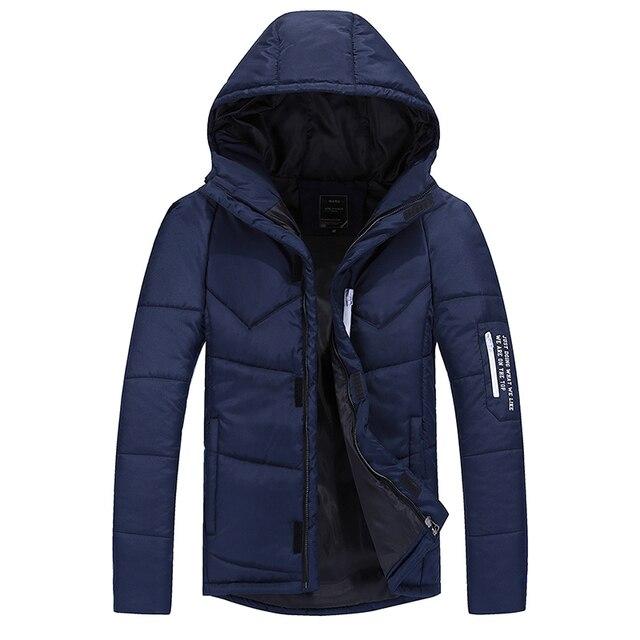 Winter Jacket Men Cotton Padded Outerwear Coats Thickening Warm Down Parka Jacket Hooded Zipper Brand-Clothing M~3XL DJ00202