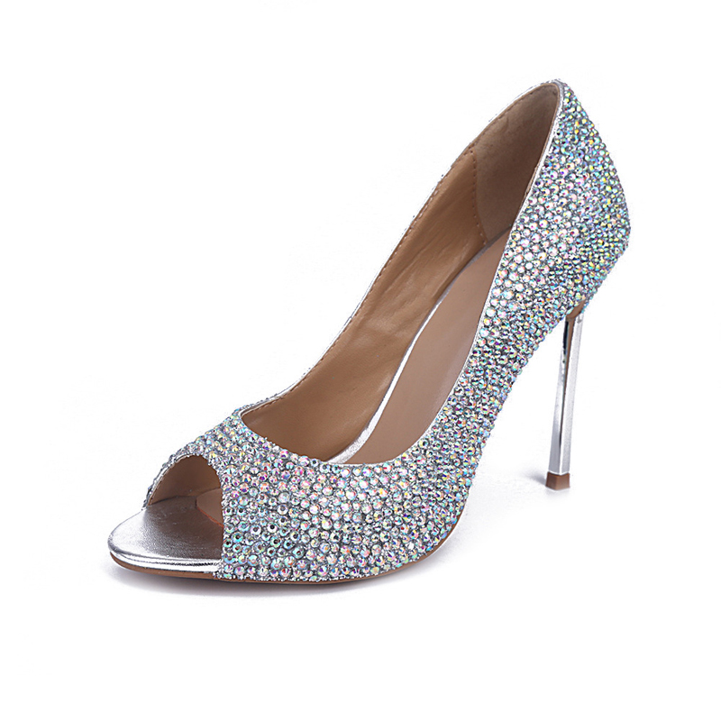 Summer High Heels AB Color Crystal Prom Shoes Popular ...