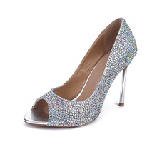 Summer High Heels AB Color Crystal Prom Shoes Popular Rhinestone Wedding Shoes Peep Toe Genuine Leather Stiletto Heel Sandals