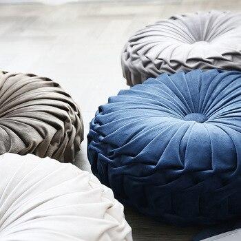 Pleated Velvet Round Pillow