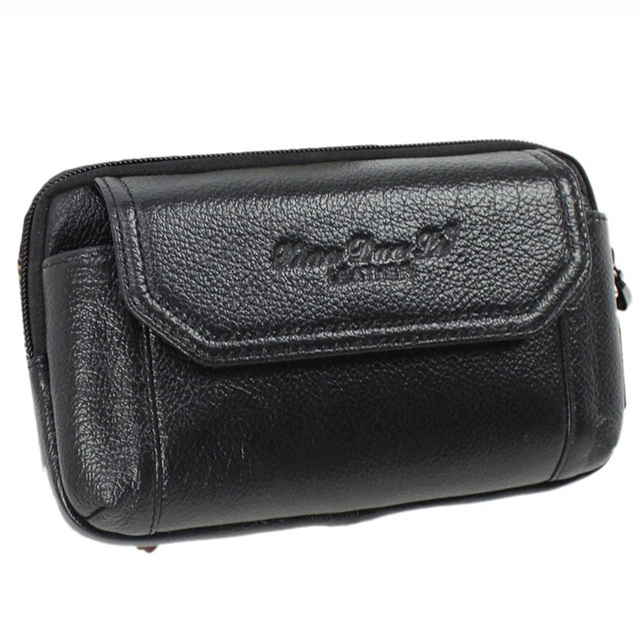 High Quality Genuine Leather Cowhide Men Cell Mobile Phone Pocket Coin Purse Cigarette Money Case Hip Belt Fanny Waist Pack Bag