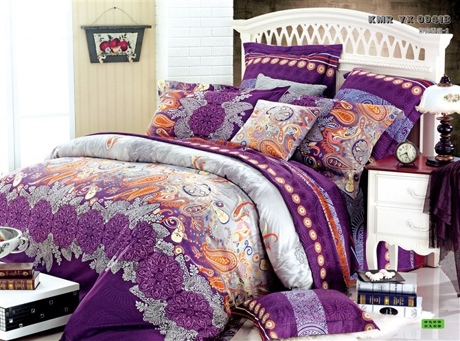 Luxury Purple Yellow Red Shine Bedding Set 4pcs King Queen