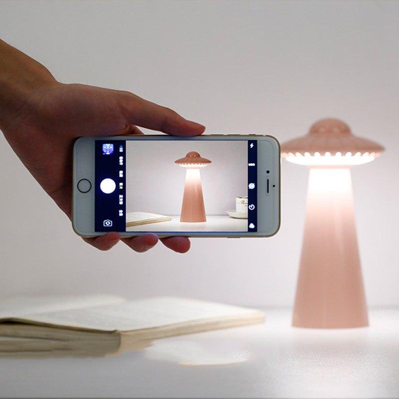Creative USB Rechargeable Lampe De Bureau Oeil UFO Soucoupe Volante Lumière de Nuit Décoration Décoration De La Maison Bureau Avec La Lumière de Nuit Cadeaux