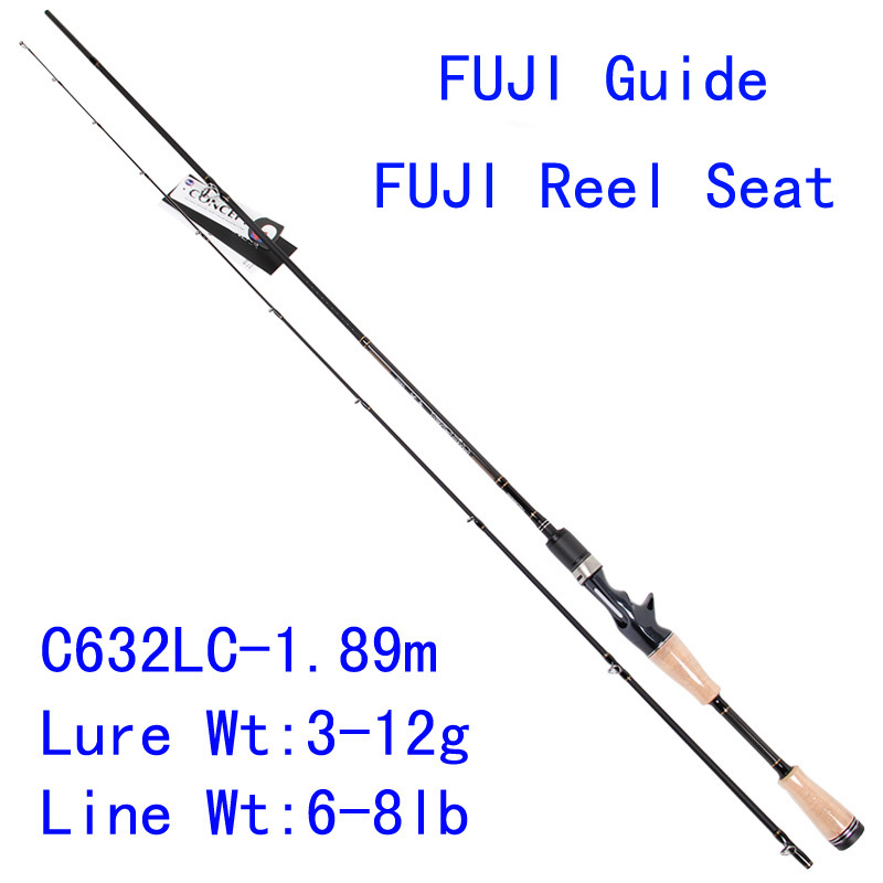 Tsurinoya PRO FLEX C632LC 1.89m Light Action Bait Casting Lure Rod Fuji Rings Reel Seat Carbon Wooden Handle Fishing Rod Pesca trulinoya pro flex c652ml 1 95m ml action fuji guide reel seat bait casting rod high carbon 3a cork hanle cast fishing rod pesca