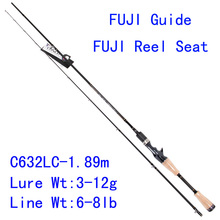 Tsurinoya PRO FLEX C632LC 1.89m Light Action Bait Casting Lure Rod Fuji Rings Reel Seat Carbon Wooden Handle Fishing Rod Pesca