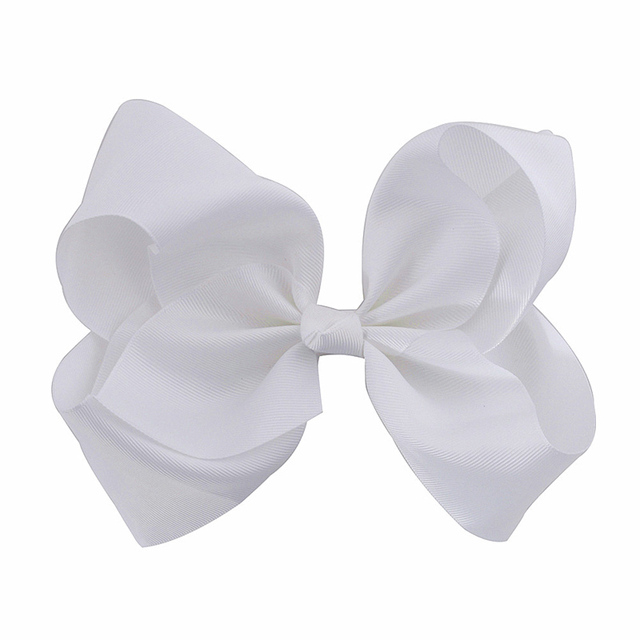 8 Inches Large Solid Grosgrain Ribbon Hair Bow Boutique Dancing French Clip  Paris White Bows For af3c4601503