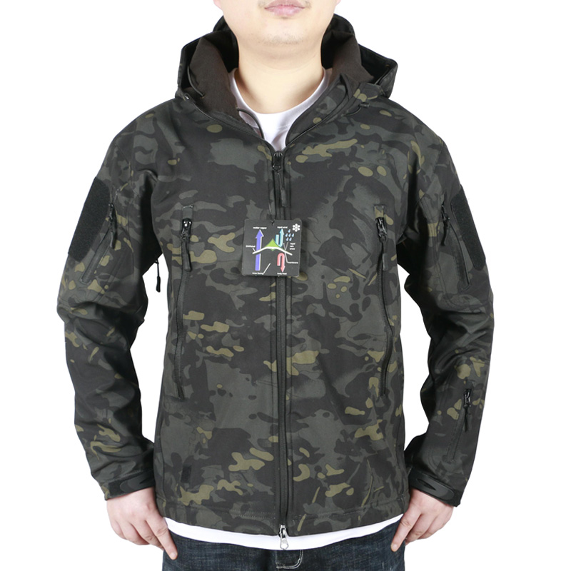 Men s Military Camouflage Fleece Jacket Tactical Hunting Gear Waterproof Military Army Coat Outdoor Jackets hunting