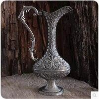 H23cm middle size bottle shape retro metal tabletop vases with one handle flower vase for vase decoration home HP003