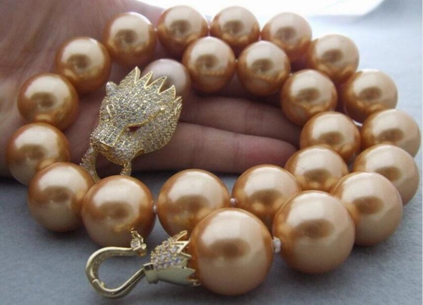 Collier CZ avec fermoir à tête de dragon 18mm, perle de coquille 19